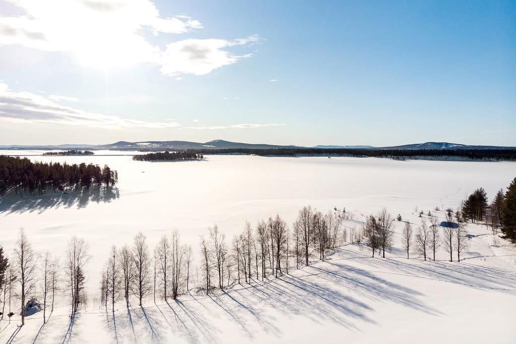 Vinter, istäckt sjö, Arjeplog
