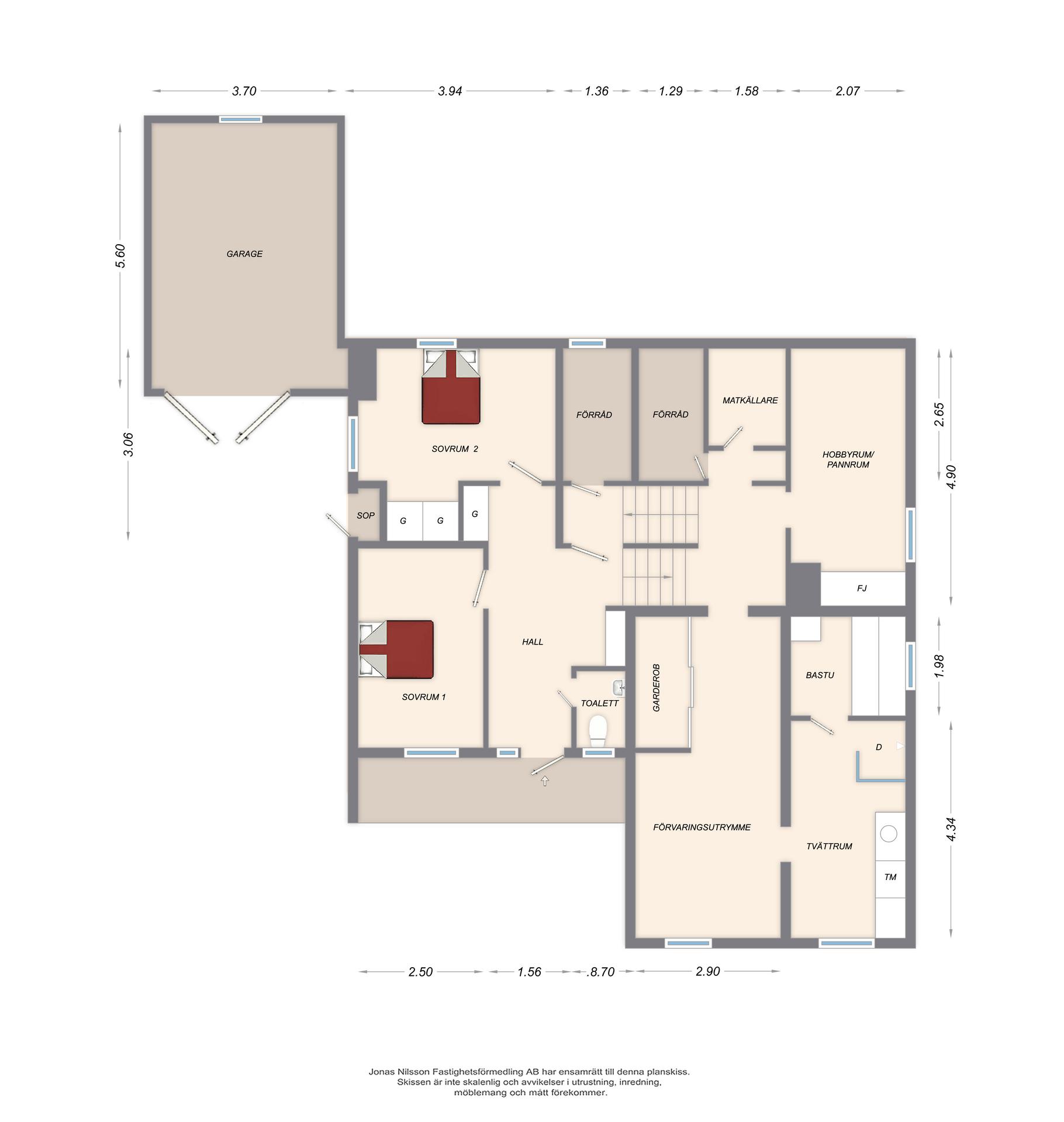 Planritning entréplan/källare