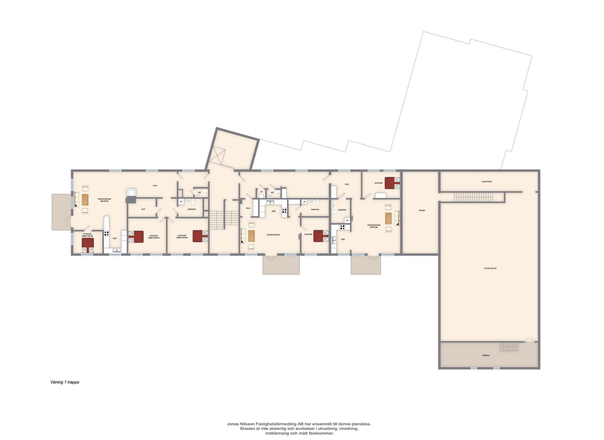 Förslag ombyggnad våning en trappa